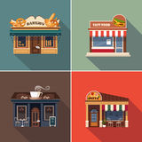 Stores and Shop Facades. Vector Illustration Set Stock Photography