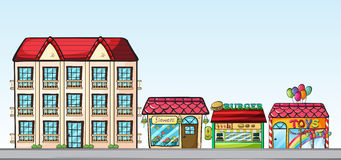 Stores on street. Illustration of a street full of shops Stock Photos