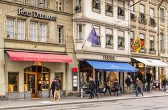 Stores on Theaterplatz square in Bern, Switzerland Stock Photos