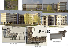 5 storey block. Project of modern 5 story residential building, city building P+4E, city building Stock Photo