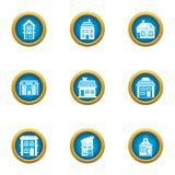 Storey building icons set, flat style. Storey building icons set. Flat set of 9 storey building vector icons for web isolated on white background Stock Photos