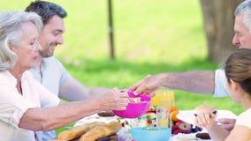 Storfamilj som tillsammans äter lunch i parkera