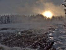 Storforsen, самый большой водопад в Швеции Стоковые Фото
