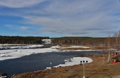 Storforsen em Norrbotten Fotografia de Stock Royalty Free