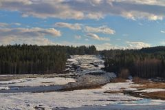 Storforsen i Norrbotten Arkivfoto