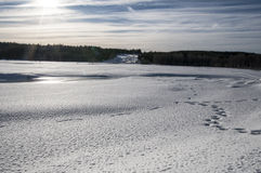 Storforsen in winter. Storforsen view on rivwr in winter Royalty Free Stock Image