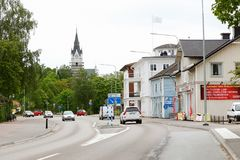 Storgatan street Sunne. Sunne, Sweden - May 26, 2016: Sunne city center view of the Storgatan street royalty free stock photos