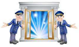 storgubbedoormen och ingångsdörr stock illustrationer