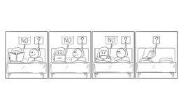 Storia comica del fumetto della relazione frustrata della donna e dell'uomo e del problema sessuale illustrazione vettoriale