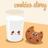 Storia dei biscotti del cioccolato e della tazza di latte Fotografie Stock