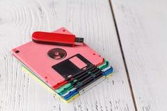 Storia dei computer, floppy disk - retro stoccaggio Immagine Stock