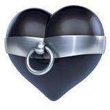 Storia del giunto circolare, fatta di metallo, acciaio legato intorno ad un cuore nero del lattice Immagine Stock Libera da Diritti