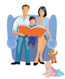 Storia della lettura della famiglia ai bambini Fotografia Stock