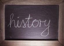 Storia della parola del testo scritta a mano sulla lavagna in aula Immagini Stock