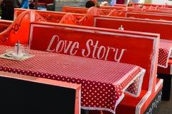 Storia di amore dell'interno di Caffe Fotografie Stock Libere da Diritti