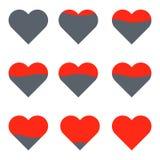 Storia di amore di vettore del cuore Progres di amore Fissi l'animazione dell'icona fotografia stock