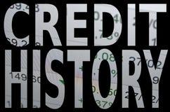 Storia di credito Fotografia Stock