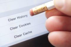 Storia di Internet di Erase Fotografie Stock Libere da Diritti