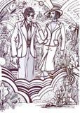 Storia di modo: coppie 70s Immagine Stock Libera da Diritti