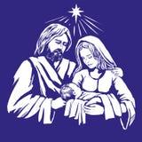 Storia di Natale Maria, Joseph ed il bambino Gesù, figlio di Dio, simbolo dell'illustrazione disegnata a mano di vettore di Crist illustrazione vettoriale