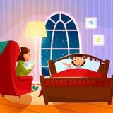 Storia di ora di andare a letto della lettura della madre al suo douther illustrazione vettoriale