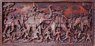Storia di scultura di legno della Tailandia Fotografia Stock Libera da Diritti