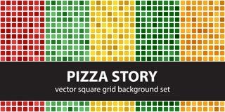 Storia stabilita della pizza del modello quadrato Ambiti di provenienza senza cuciture delle mattonelle di vettore Fotografia Stock Libera da Diritti