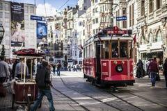 Storic电车在伊斯坦布尔 库存图片