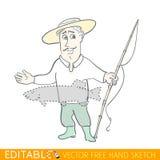 Storie alte, pescatore vanaglorioso Grafico di vettore editabile nello stile lineare Immagine Stock