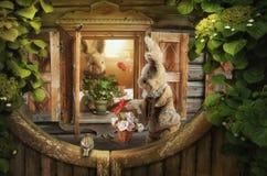 Storie della lepre, nel collage della forma delle foto illustrazione vettoriale