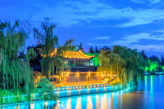 Storied building pavilion beside Haohe River royalty free stock photography