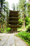 Storied pagod fem i Mt Haguro Yamagata, Japan Royaltyfria Bilder