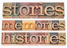 Stories, memories, histories Stock Photos