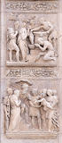 Stories of Rebecca up and Moses down. Stories of Rebecca up and Moses by Alfonso Lombardi, left door of San Petronio Basilica in Bologna, Italy Stock Photography