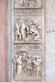 Stories of Rebecca up and Moses down. Stories of Rebecca up and Moses by Alfonso Lombardi, left door of San Petronio Basilica in Bologna, Italy Stock Photos