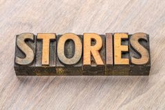 Stories word in vintage letterpress wood type Stock Images
