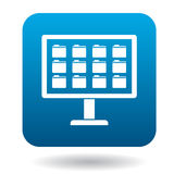 Storing files in computer icon, simple style. Storing files in computer icon in simple style in blue square. Work with files symbol Royalty Free Stock Image