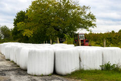 Storing hay wrapped in bales Royalty Free Stock Photography