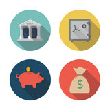 Storing money. Icons storing money. Modern flat design. bank, safe, moneybox, pig, bag.  Vector illustration. Design elements for mobile and web applications Stock Photography