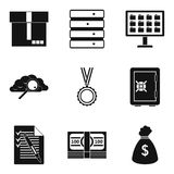 Storing money icons set, simple style Stock Photo