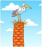 Stork. Bird on top of chimney Royalty Free Stock Photos
