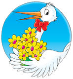 Stork. Illustration for children. Stork with flowers Stock Photo