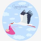 Stork. Illustration congratulations flying stork carrying a baby Stock Photos