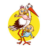 Stork with Babies Boy and Girl Sticker Stock Photography