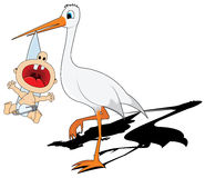 Stork and baby Stock Images