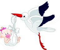 Stork And Baby. A cartoon illustration of a stork delivering a newborn baby girl Stock Image