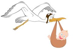 Stork with baby. High detailed vector Stock Photography