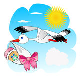 Stork and baby. Flying stork carrying newborn child in beak over blue sky Royalty Free Stock Photo