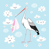Stork with baby Stock Images