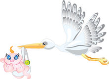 Stork and baby. Baby birth concept Royalty Free Stock Photography